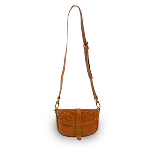 Tooled leather crossbody bag with strap up, Cassie Convertible Crossbody Bag.