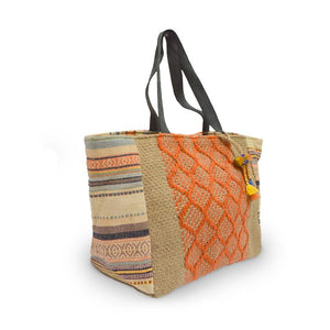 Angle view of natural jute tote, Margie Jute Tote.