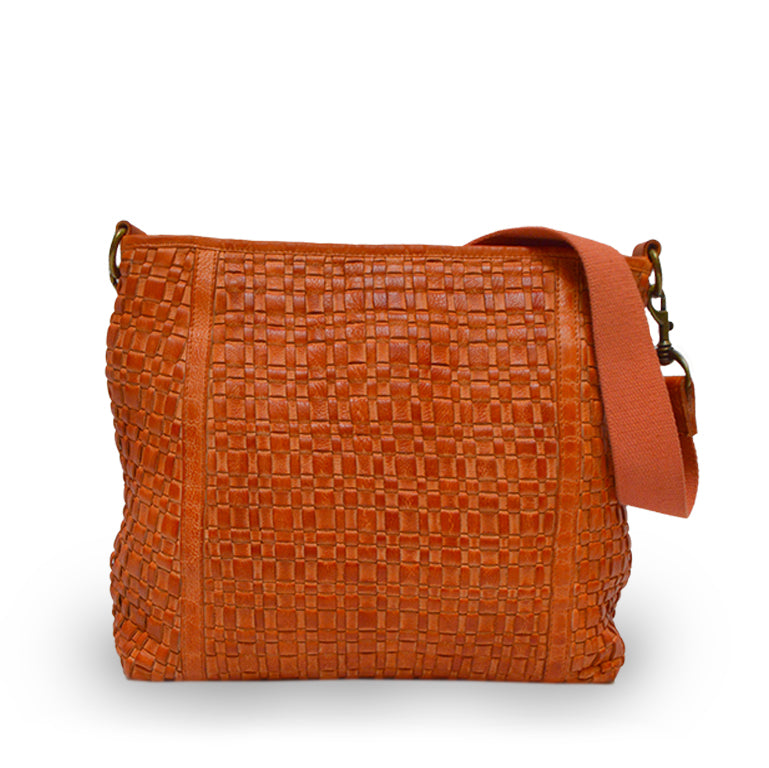 Up close woven leather, Naveah Shoulder Bag.