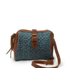 Blue quilted leather crossbody bag, Sam Quilted Crossbody Bag.