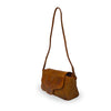 Brown woven leather bag with smooth flap, Sawyer Woven Shoulder Bag.
