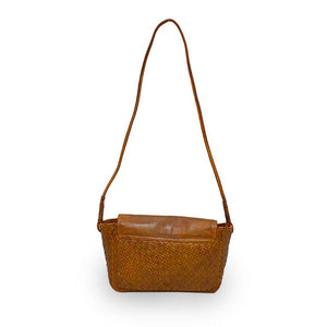 Back of brown woven leather bag with smooth flap, Sawyer Woven Shoulder Bag.