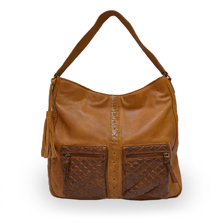 Large caramel shoulder bag, front view, Starlight Crossbody Bag.