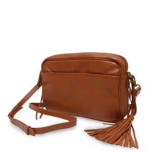 Brown leather crossbody bag with leather tassel, Willow Crossbody Bag.