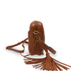 Brown leather crossbody bag with leather tassel, side view, Willow Crossbody Bag.