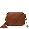 Brown leather crossbody bag with leather tassel, back view, Willow Crossbody Bag.