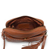 Brown leather crossbody bag with leather tassel, interior view, Willow Crossbody Bag.