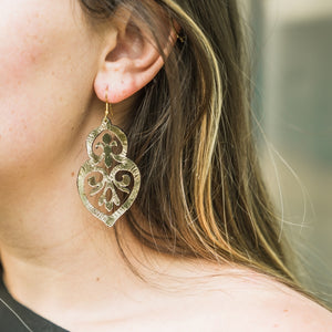Filigree leather earring, leather earrings on model, gold foil, great gift, Leather Gold Foil Filigree Earring.