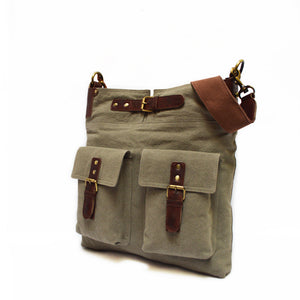 Front pockets on purse, multi-sex bag, Daily Crossbody Bag, side view of bag.