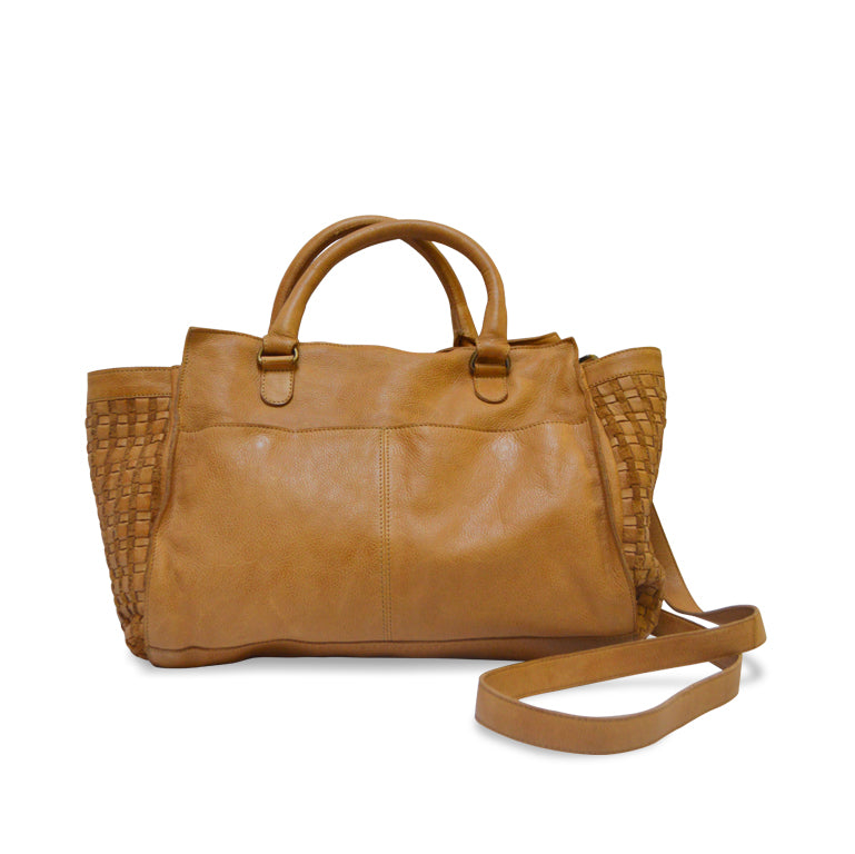 Freya crossbody bag, leather tote, honey.