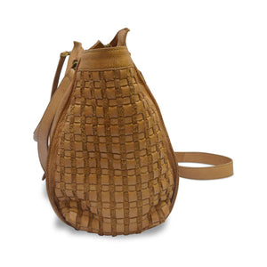 Leather woven detailing, woven leather, honey colored, tote, pebbled leather