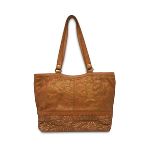 back of Embellished Tote, Goldenrod Quilted Tote, gold flecks, leather.