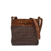 Front view of brown quilted bag with handle down, Joan Quilted Crossbody Bag.