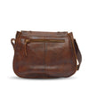 Back of brown leather bag, Saddle Crossbody Bag.