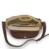 Interior of purse, Saddle Crossbody Bag in brown.