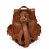 Small brown leather backpack, back view, adjustable straps, Sadie Leather Backpack.