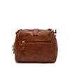 Back view of bag, handle down, brown leather, Sam Leather Crossbody Bag.