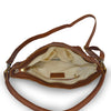 Skylar Woven Leather Bag, woven leather, brown, texture, dual handles, shoulder bag, interior view.