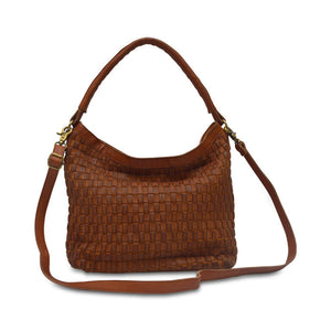 Skylar Woven Leather Bag, woven leather, brown, texture, dual handles, shoulder bag.
