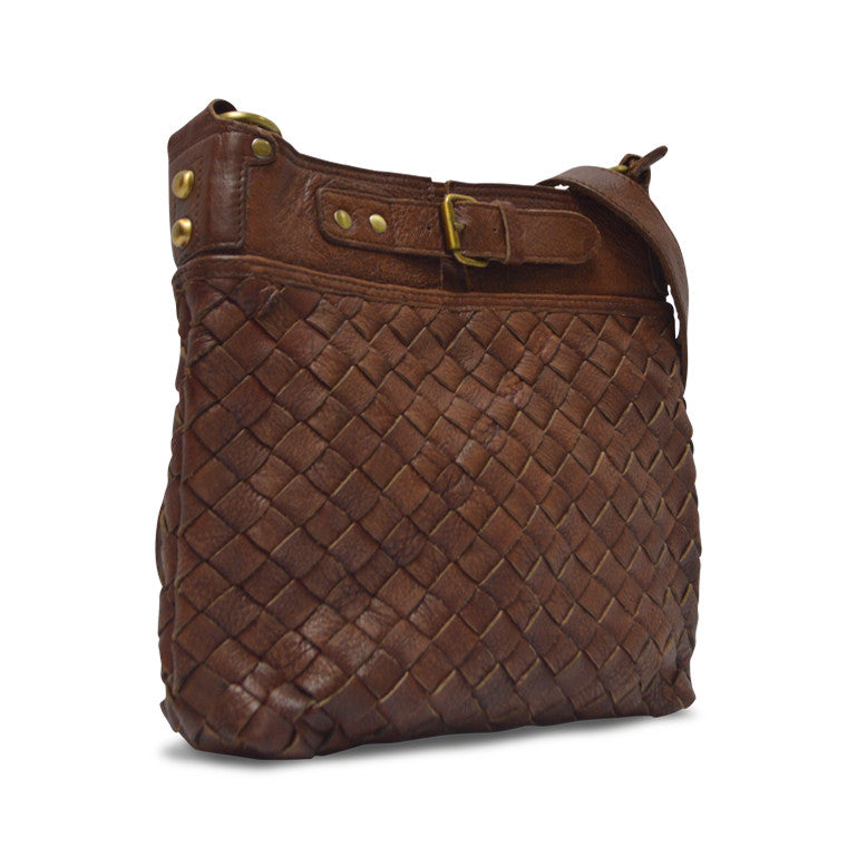 Woven Leather Joan Crossbody Bag