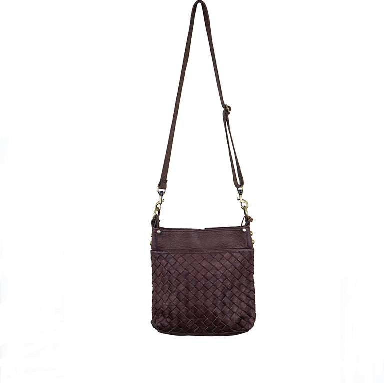 Joan Woven Leather Crossbody Bag