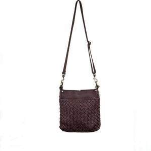 Front view, handle up, brown leather, Joan Woven Leather Crossbody Bag.