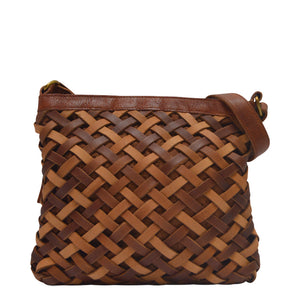 Brown woven leather crossbody bag, handle down, front view, Aaralyn Crossbody Bag.