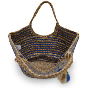 Interior view of blue and natural stripe jute tote, Amanda Jute Tote.