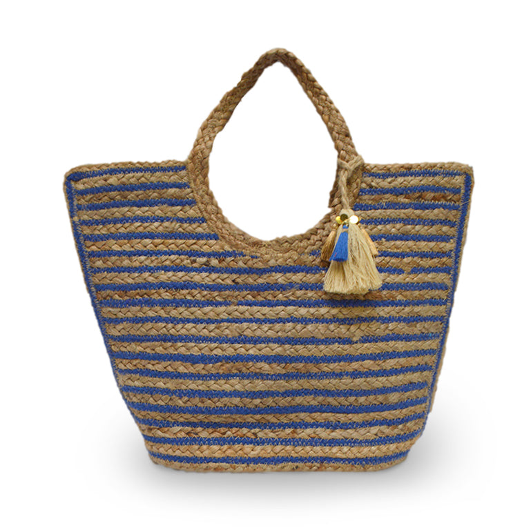 Blue and natural stripe jute tote, Amanda Jute Tote.