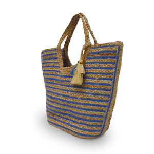 Angle view of blue and natural stripe jute tote, Amanda Jute Tote.