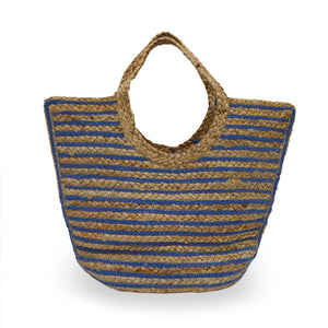 Back view of blue and natural stripe jute tote, Amanda Jute Tote.