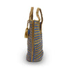 Side view of blue and natural stripe jute tote, Amanda Jute Tote.