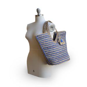 Blue and natural stripe jute tote on mannequin, Amanda Jute Tote.