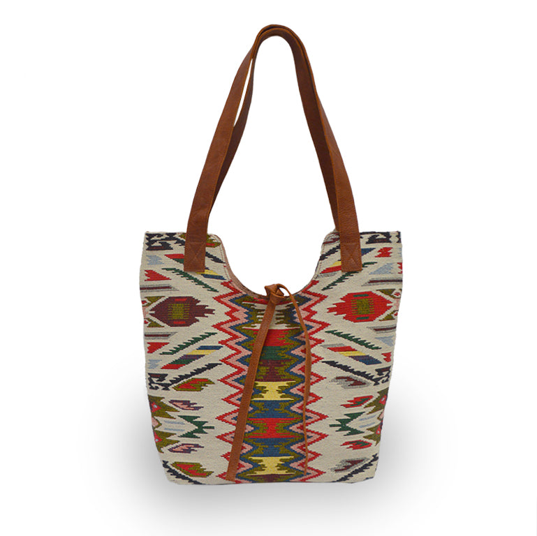 Cotton jacquard print tote with leather handles, front view, Birdie Jacquard Tote.