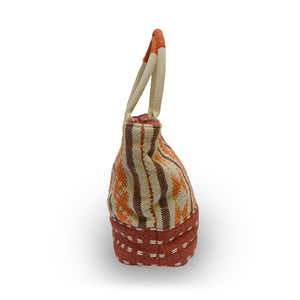 Side view of an orange fabric tote, Cara Fabric Tote.