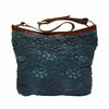 Blue leather shoulder bag with handle down, quilted floral detail, Cari Quilted Shoulder Bag.