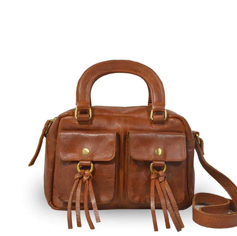 Brown leather bag with two pockets and a handle, Dora Crossbody Bag.