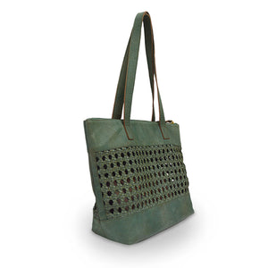open weave tote green at an angle, Haddie Woven Tote.
