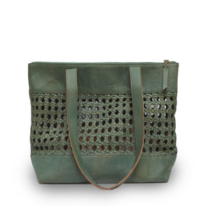 open weave tote green handle down, Haddie Woven Tote.