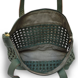 open weave tote green interior unlined leather tote, Haddie Woven Tote.