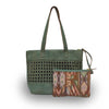 open weave green tote with pouch, Haddie Woven Tote.