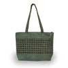 open weave tote green front, Haddie woven tote.