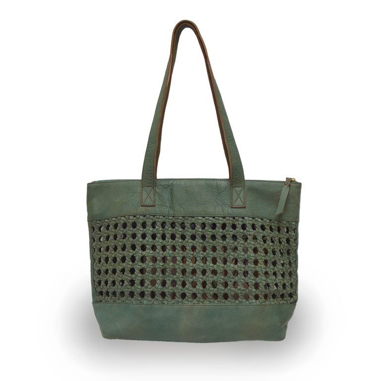 Open brown leather weave tote, Haddie Woven Tote.