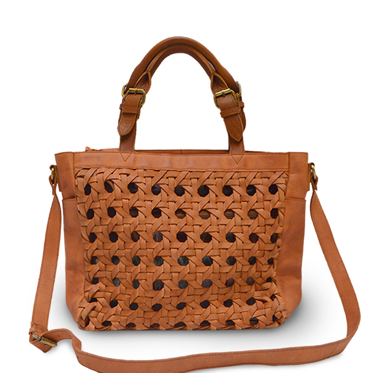 front view of Leather Shopper, medium Brown, Haddie Woven Tote.