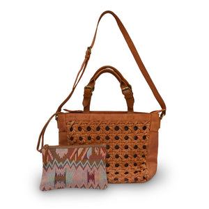 Tote with Pouch, Light Brown, Leather Shopper, Unlined tote, Haddie Woven Tote.