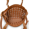 Interior view of unlined leather tote, Hadley Woven Tote.