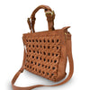 Side view of woven leather crossbody bag with handle down, Hadley Woven Tote.