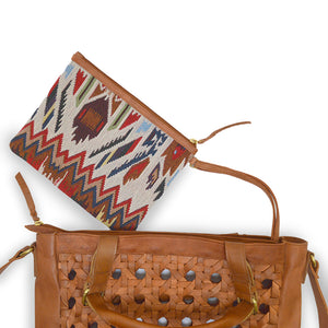 Jacquard pouch and woven leather tote, Hadley Woven Tote.