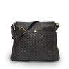 Black Woven Leather Shoulder Bag, Thick Strap, Hazel Shoulder Bag.