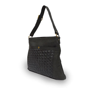 side view of large shoulder bag, brass hardware, woven leather, large front pocket with woven leather, black.